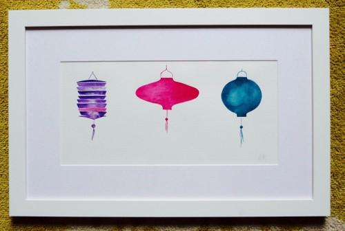 Three Lanterns : purple colour way