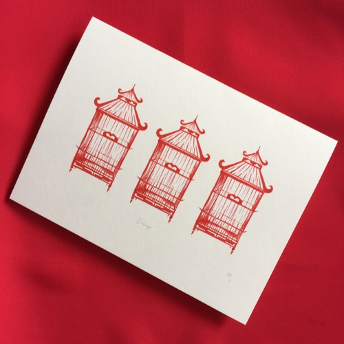 BLANK Red Birdcages Pack of 5