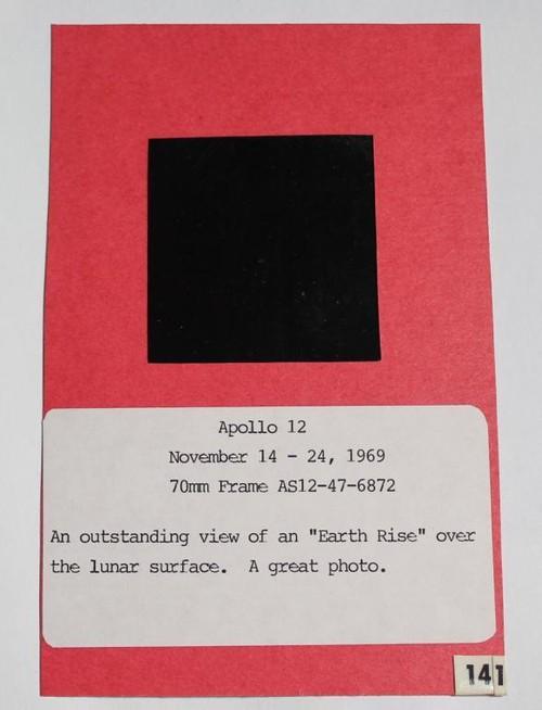 Apollo 12 Vintage Earthrise NASA Transparency