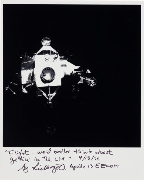 Apollo 13 Lunar Module Aquarius Photo signed Sy Liebergot