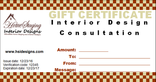 Interior Design Consultation Gift Certificate