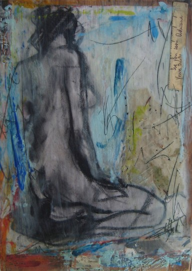 Yours truly. Charcoal, encaustic, mixed media on panel by Marcie Wolf-Hubbard