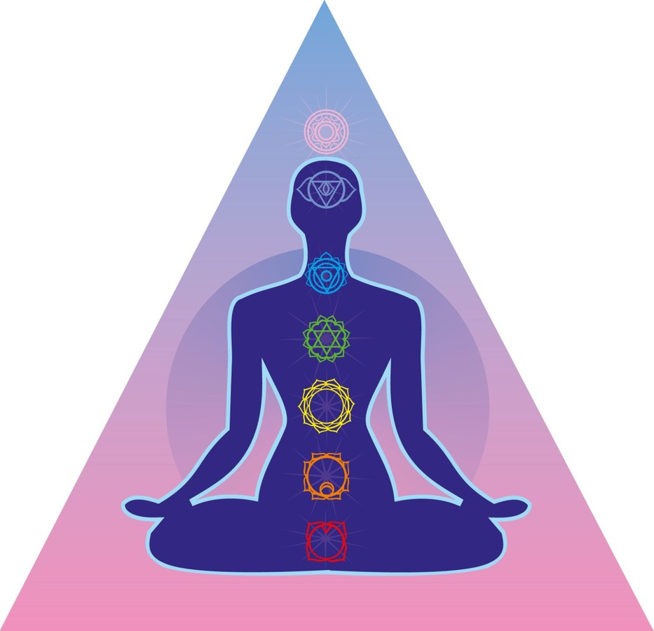 Chakras In A Triangle Illustration On Sitting Body